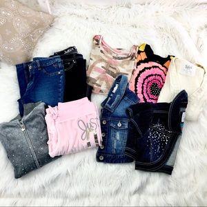 Girls Justice Bundle Sz 10/12 denim tops sweater